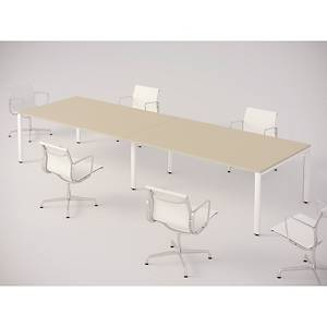 MEETING TABLE OCEAN 120X120 CM OAK/WHITE