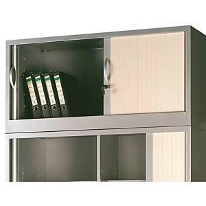 Armário com portas de persiana Lyreco - 1200 x 500 mm - alumínio/alumínio