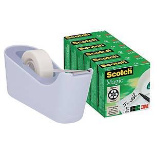 Dévidoir Scotch® C18 Lavande + 6 rouleaux ruban adhésif Scotch® Magic™, 19mmx33m