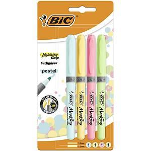 Bic Highlighter Grip Pastel Asst - Pack Of 4