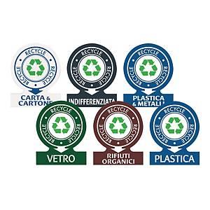 Etichette adesive identificative per rifiuti TICO assortite - conf. 6