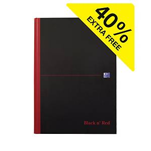 Oxford Black n  Red Notebook A4 Casebound Ruled - Pack Of 7