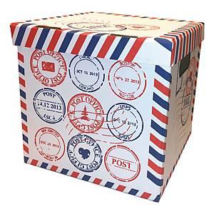 Scatola archivio Arca con coperchio cartone fantasia post office - conf. 2