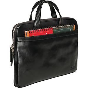 Computertaske Pierre By Elba Slim, læder, sort