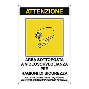 Cartello segnaletico   AREA SOTTOPOSTA A VIDEOSORVEGLIANZA   20x30cm