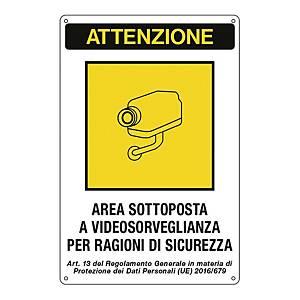 Cartello segnaletico   AREA SOTTOPOSTA A VIDEOSORVEGLIANZA   12x18cm
