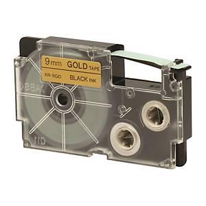 CASIO 卡西歐 XR-9GD1 顏色標籤帶 9毫米 x 8米 黑色字金色底