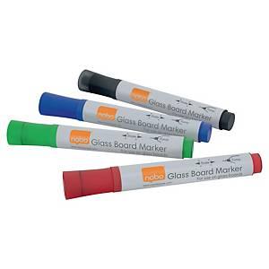 Markery na sklenenú tabuľu Nobo, mix farieb, 4 kusy