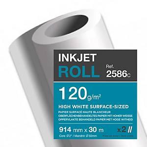 Plotterpapier Clairefontaine InkJet 2586C, 914mm x 30m, 120 g/m2, Pack à 2 Roll.