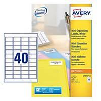 Avery L7654-25 Mini Labels, 45.7 x 25.4mm 40 Labels Per Sheet, 1000 Labels Per