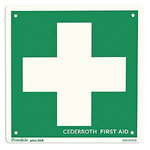 CEDERROTH SIGN FIRST AID CROSS GREEN