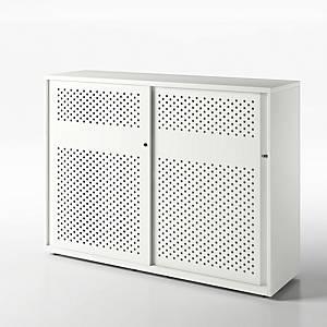 Armoire à portes coulissantes acoustiques Bisley, H 116,1 cm, blanche