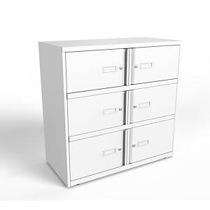 Bisley Essentiel locker met 6 compartimenten, B 100 x H 100 x D 47 cm, wit