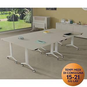 Tavolo riunione ribaltabile Horeco TDM con ruote L 140 x P 80 x H 73 cm bianco