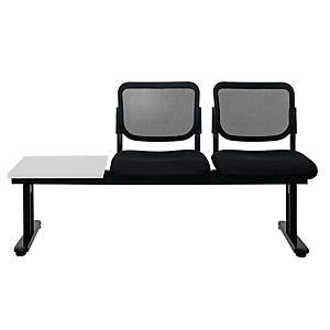 WORKSCAPE ZR-1005/2TL WAITING CHAIR 2 SEATS LEFT TABLE MESH FABRIC BLACK