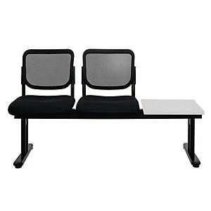 WORKSCAPE ZR-1005/2TR WAITING CHAIR 2 SEATS RIGHT TABLE MESH FABRIC BLACK