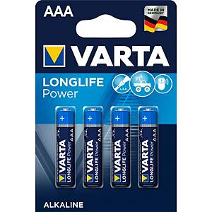 Batterie Varta 4903, Micro, LR03/AAA, 1,5 Volt, Longlife Power, 4 Stück