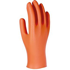 Caixa de 50 luvas descartáveis 3L Unigrip Or nitrilo laranja tamanho 10