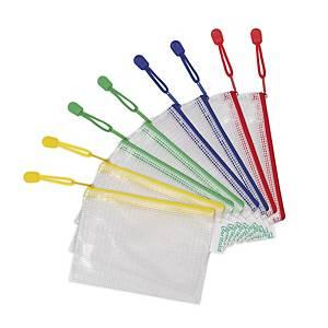 Tarifold transparante tas met zipsluiting, A6, PVC, assorti, per 8 ziptassen