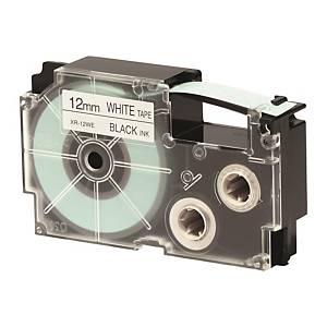 CASIO 卡西歐 XR-12WE1 顏色標籤帶 12毫米 x 8米 黑色字白色底