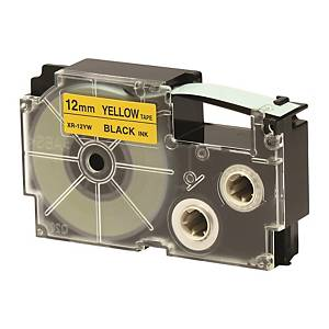 CASIO 卡西歐 XR-12YW 顏色標籤帶 12毫米 x 8米 黑色字黃色底
