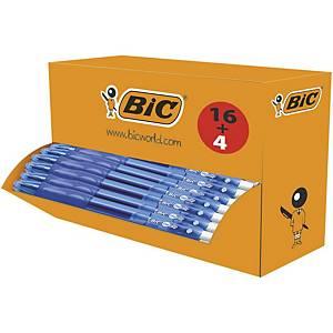Bic Gel-ocity Original Retractable Gel Ink Pens Med 0.7 mm Blue, Value PK 16+4