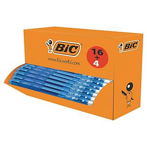 Bic Gelocity intrekbare gel roller pen, medium, blauwe gel-inkt, 16 + 4