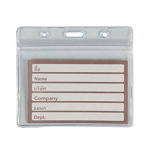 NAME BADGE LANDSCAPE WITH ZIP 9.3X6.3CM CLEAR - PACK OF 10