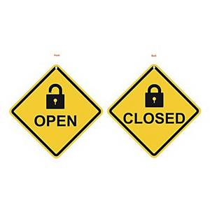 PLANGO WALL HANGING SIGN PLASTIC OPEN/CLOSED 12X12CM