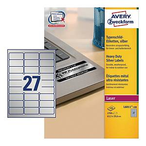 Etykiety znamionowe Avery Zweckform, 63,5 x 29,6 mm, srebrne, 2700 etykiet*