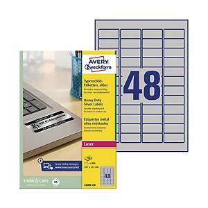 Etykiety znamionowe Avery Zweckform, 45,7 x 21,2 mm, srebrne, 4800 etykiet*