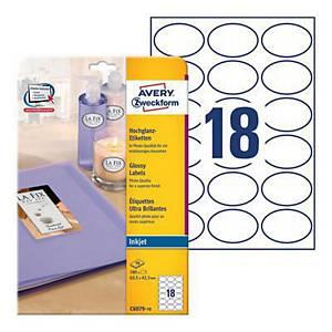 Etykiety błyszczące Avery Zweckform, 63,5 x 42,3 mm, białe, 180 etykiet*