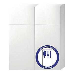 Serwetki z kieszonką na sztućce CLARINA, 32 x 38 cm, białe, 50 sztuk