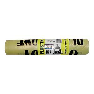 Worki do segregacji 60 l, żółte na plastik, 60 x 72 cm