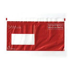 Dokumententasche mit Aufdruck  DOKUMENTE , 235 x 120 mm, C6, rot 100 Stück