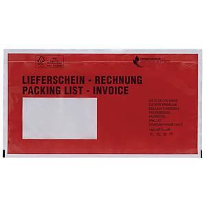 Dokumententaschen DIN lang, mit Aufdruck Lieferschein / Rechnung, 100 Stück