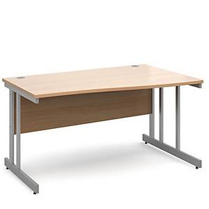 Momento Right Hand Wave Desk 1400mm - Silver Cantilever Frame, Beech Top