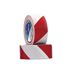 LOUIS เทปตีเส้นพื้น PVC ชนิดแข็ง 48 มิลลิเมตร X 33 เมตร สีขาว-แดง