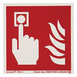 Znak  Alarm pożarowy  150 x 150 (mm)