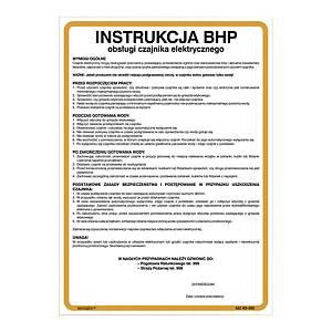 Znak  Instrukcja BHP przy obsłudze czajnika elektrycznego , 350 x 250 (mm)