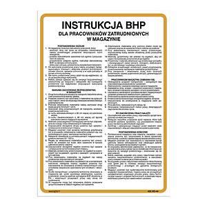 Znak  Instrukcja BHP dla pracowników zatrudnionych w magazynie , 350 x 250 (mm)