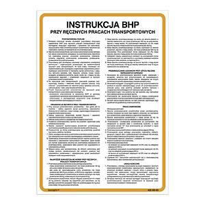 Znak  Instrukcja BHP przy ręcznych pracach transportowych , 350 x 250 (mm)