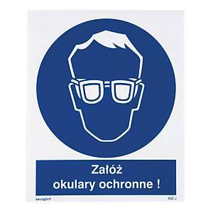 Znak  Nakaz stosowania ochrony oczu , 225 x 275 (mm)