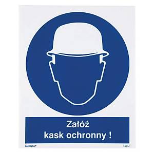 Znak  Nakaz stosowania ochrony głowy , 225 x 275 (mm)