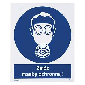 Znak  Nakaz stosowania ochrony dróg oddechowych-Maski ochronne , 225 x 275 (mm)