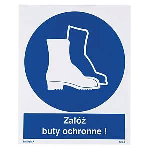 Znak  Nakaz stosowania ochrony stóp  225 x 275 (mm)