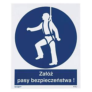 Znak  Nakaz używania pasów bezpieczeństwa  225 x 275 (mm)