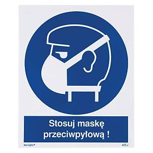 Znak  Nakaz stosowania ochrony dróg oddechowych-maski przeciwpyłowe , 225x275 mm