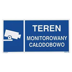 Znak  Teren monitorowany , 150 x 300 (mm)