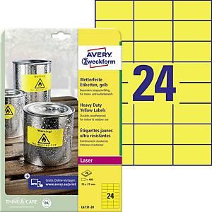 BX480 Avery L6131 Sehr resistente Etiketten 70x37 mm gelb